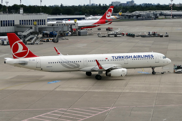 Parked airplane in Istanbul airport