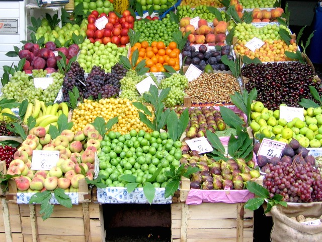 Fruits and vegetables in an outside market