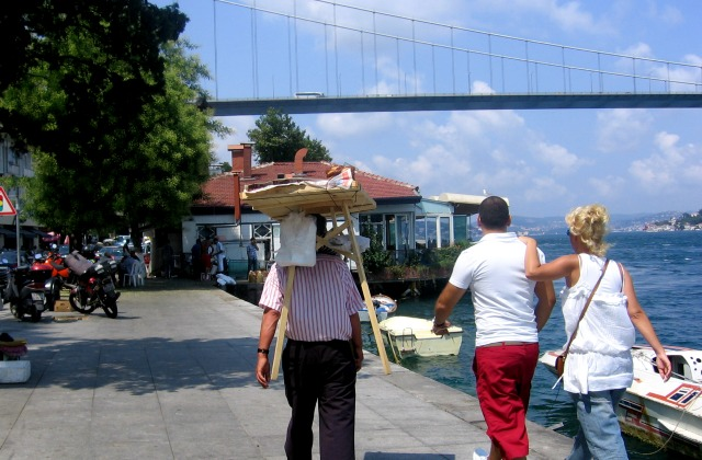 A couple walking along the Bosphorus