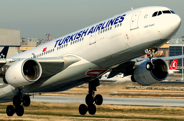 Airplane taking off at Istanbul airport