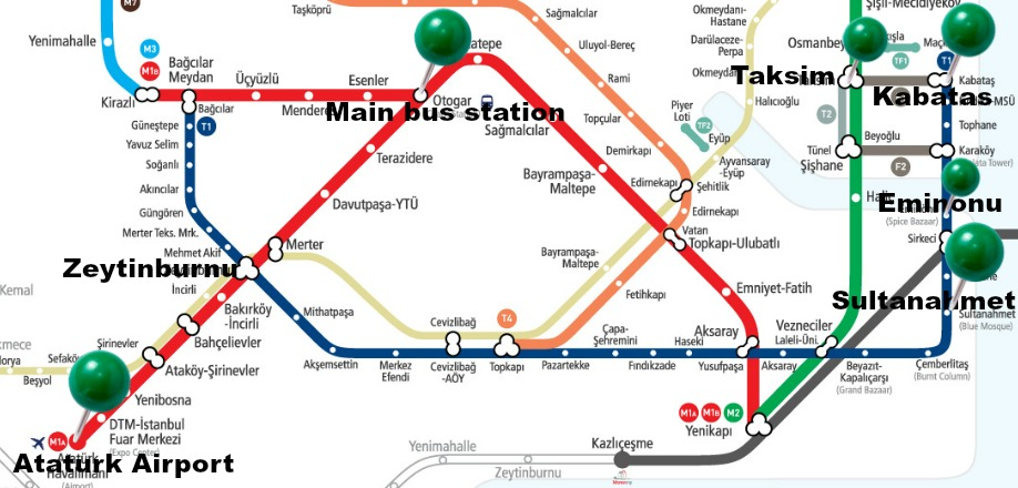 Istanbul Metro Map Description For Tourists Istanbul7hills – Istanbul Tourist Map