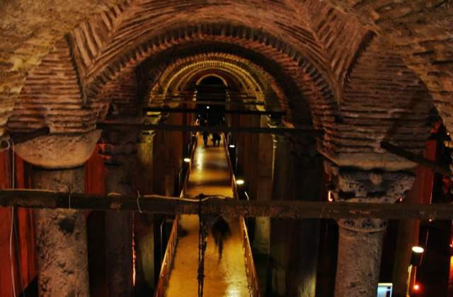Inside the Basilica Cistern in Istanbul