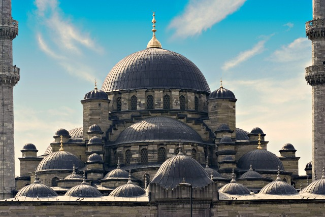 Domes of New Mosque in Istanbul, Turkey