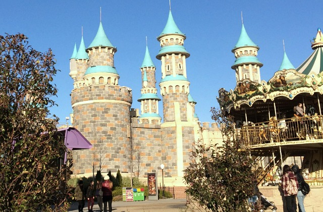 View of VIALAND castle-like towers and Mary-go-round