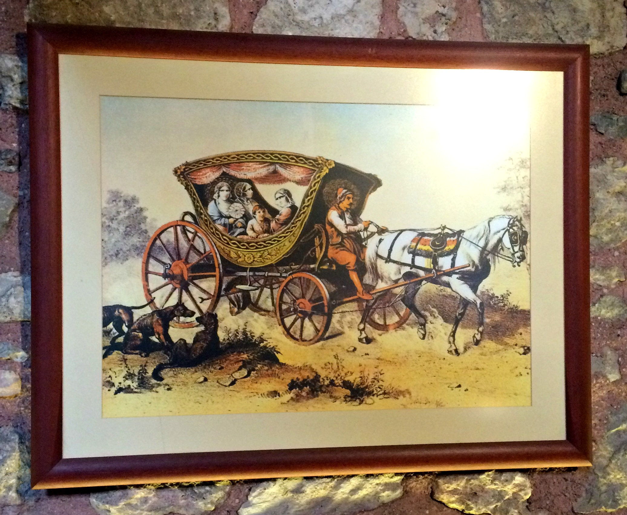 Painting of Ottoman family in a carriage
