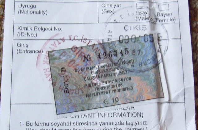 Turkish visa sample