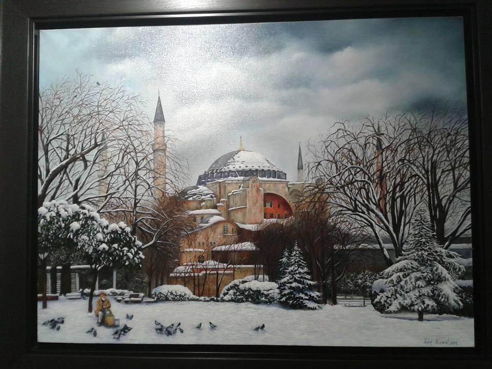 Hagia Sophia in Istanbul in snow