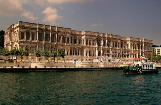 View of Ciragan Palace Kempinski hotel from the Bosphorus