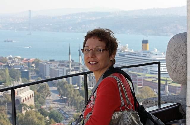 Tourist enjoying Istanbul view