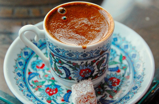 Traditional Turkish coffee with foam