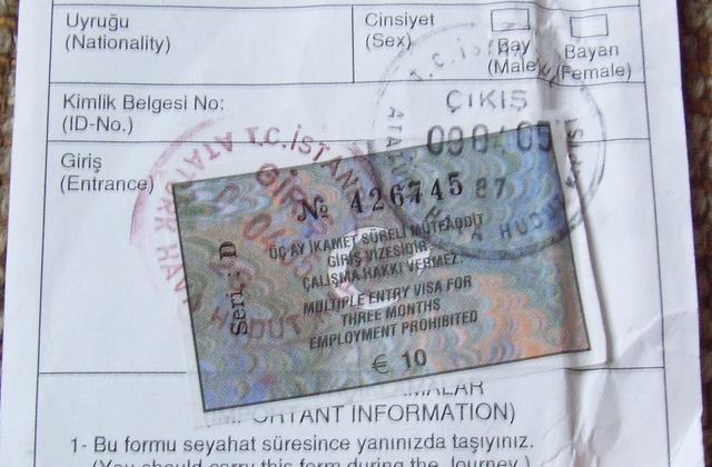 Turkish visa sample